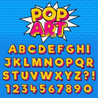 Alfabeto de letra com números design de estilo pop art