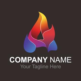 Alfabeto de letra um logotipo de fogo