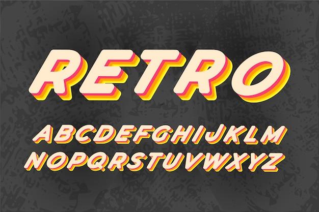Alfabeto de letras 3d retrô com sombra colorida