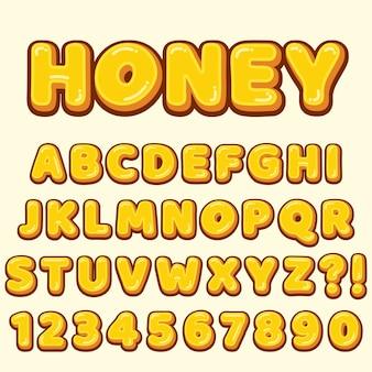 Alfabeto de letras com números de desenho animado estilo doce mel