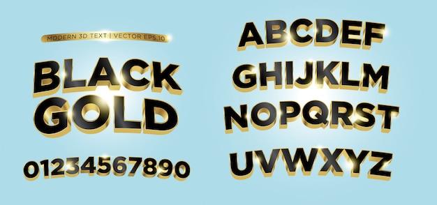 Alfabeto de letras de ouro preto 3d