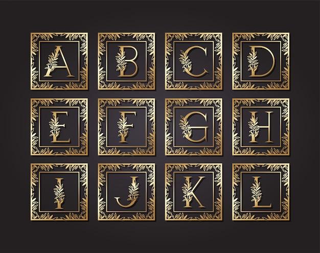 Alfabeto de letras em moldura quadrada com folhas