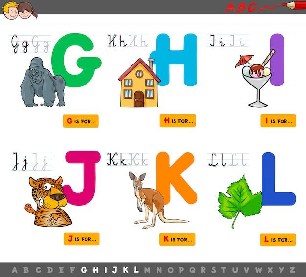 Alfabeto de letras maiúsculas conjunto educacional para crianças