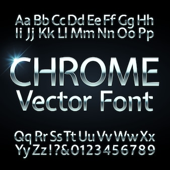Alfabeto de letras, números de cromo, aço ou prata. tipo de letra metálico, fonte.