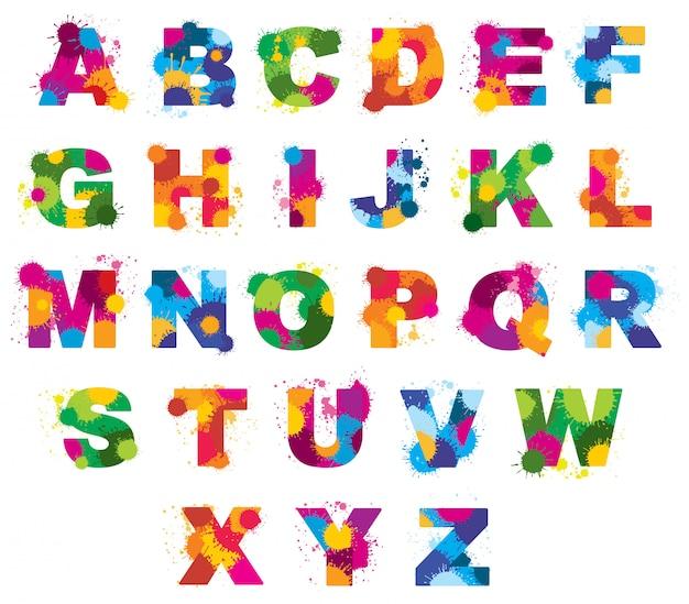Alfabeto de letras pintadas por fonte de salpicos de cor. ilustração em aquarela de abc