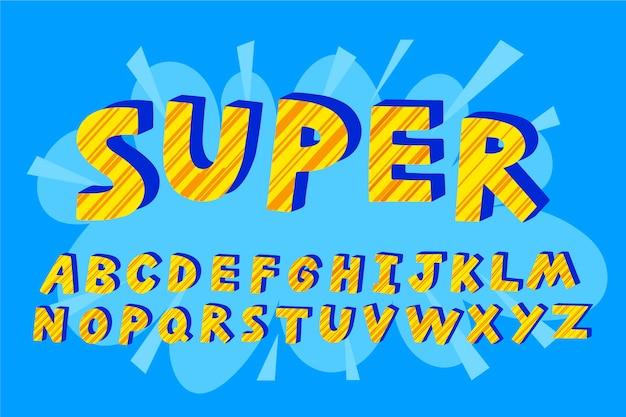 Alfabeto de letras super em quadrinhos 3d