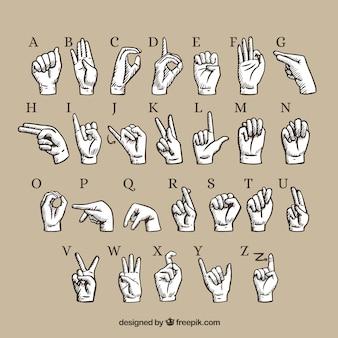 Alfabeto de língua de gesto de mão