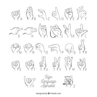 Alfabeto de língua de sinais de mão desenhada