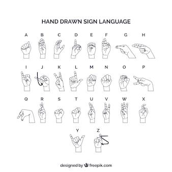 Alfabeto de língua de sinais na mão desenhada estilo