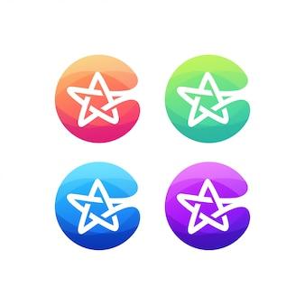 Alfabeto de logotipo de letra c estrela