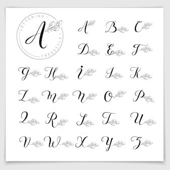 Alfabeto de logotipo monograma escrito com caneta pincel.
