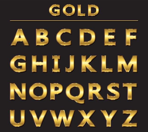 Alfabeto de luxo dourado