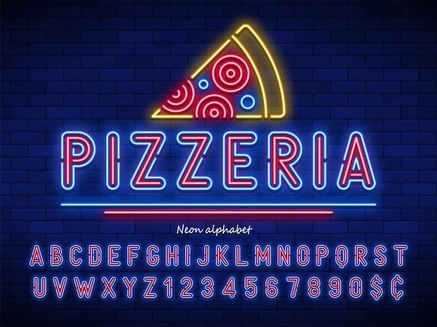 Alfabeto de luz de neon de pizaria, fonte brilhante extra