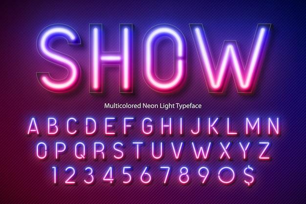 Alfabeto de luz de neon, fonte brilhante extra multicolorida