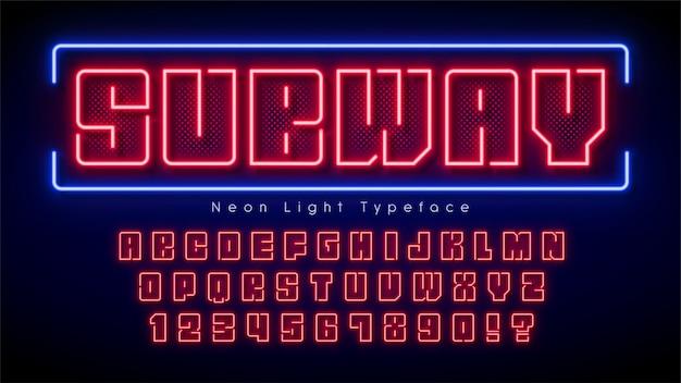 Alfabeto de luz de neon, fonte brilhante extra multicolorida.