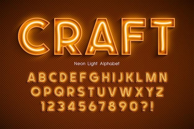 Alfabeto de luz de neon, fonte brilhante extra.