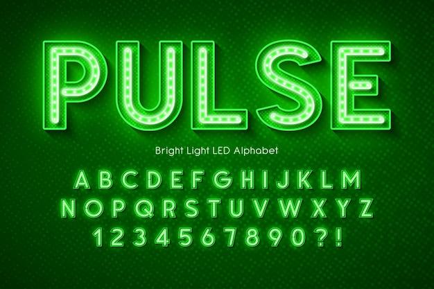 Alfabeto de luz de neon, fonte moderna brilhante extra.