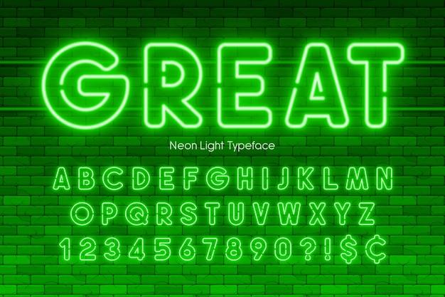 Alfabeto de luz de neon, números, fonte brilhante extra