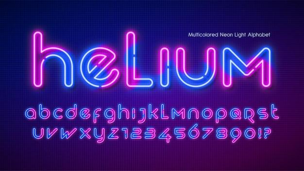Alfabeto de luz de néon, tipo futurista extra brilhante. controle de cores de amostra.