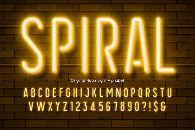 Alfabeto de luz de neon, tipo moderno brilhante extra.