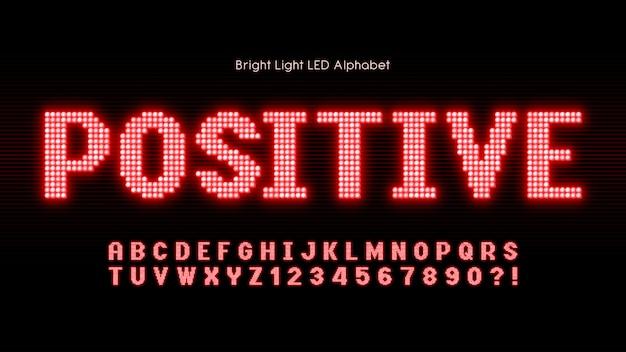 Alfabeto de luz led brilhante, fonte brilhante extra.