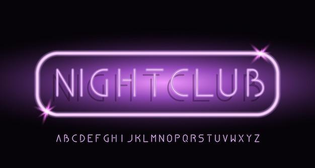 Alfabeto de luz moderna neon sem fonte serif