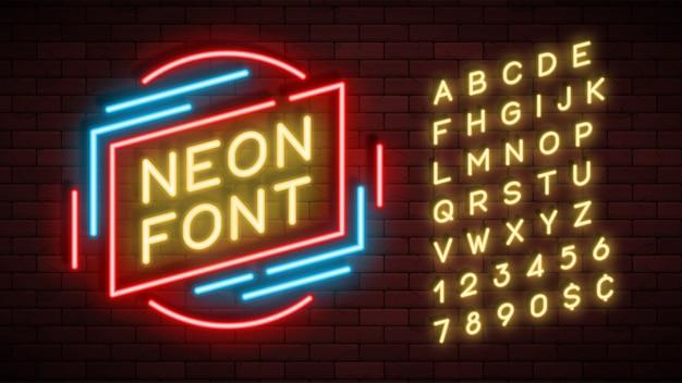 Alfabeto de luz neon, fonte brilhante extra realista
