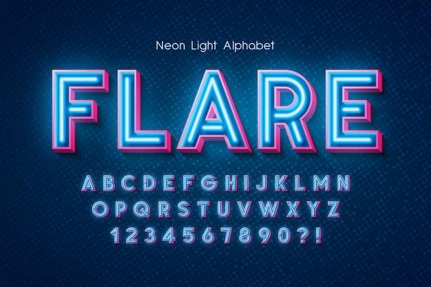 Alfabeto de luz neon, fonte brilhante extra.