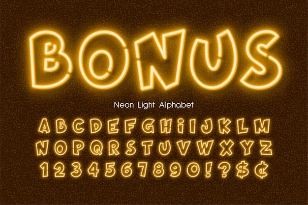 Alfabeto de luz neon, tipo de estilo cômico brilhante extra.