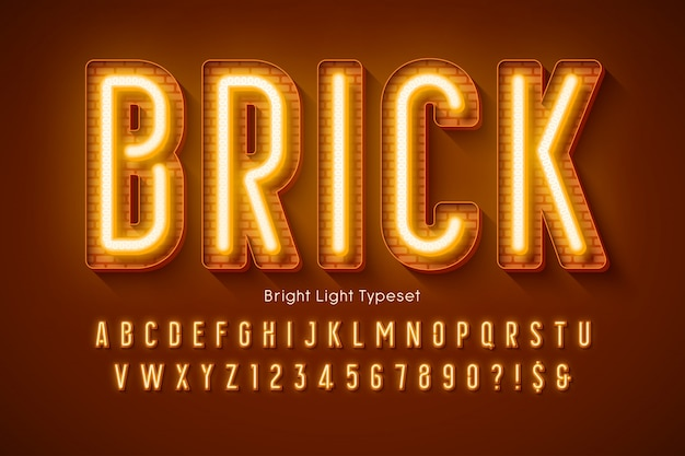 Alfabeto de luz neon, tipo moderno brilhante extra.