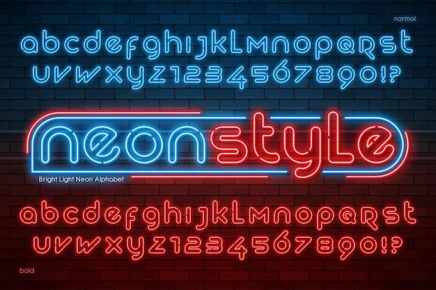Alfabeto de luz neon, tipo moderno extra brilhante. controle de cores de amostra.