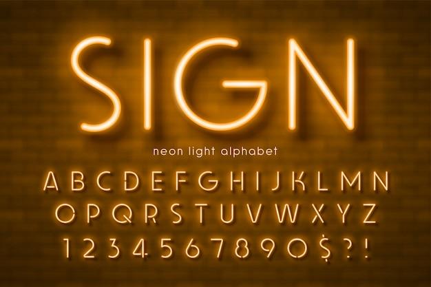 Alfabeto de luz neon
