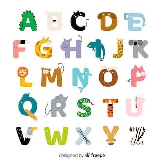 Alfabeto de mão desenhada animais fofos