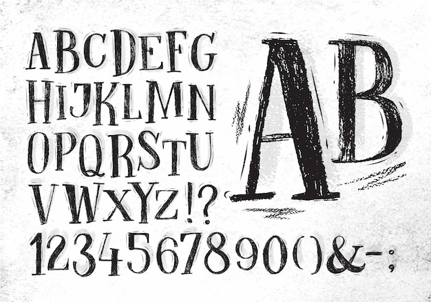 Alfabeto de mão desenhada vintage lápis fonte de desenho na cor preta sobre fundo de papel sujo