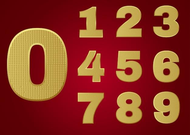 Alfabeto de metal brilhante ouro - números