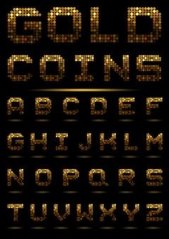 Alfabeto de moedas de ouro. abc