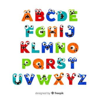 Alfabeto de monstro dos desenhos animados de halloween