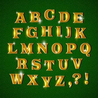 Alfabeto de natal cintilante dourado