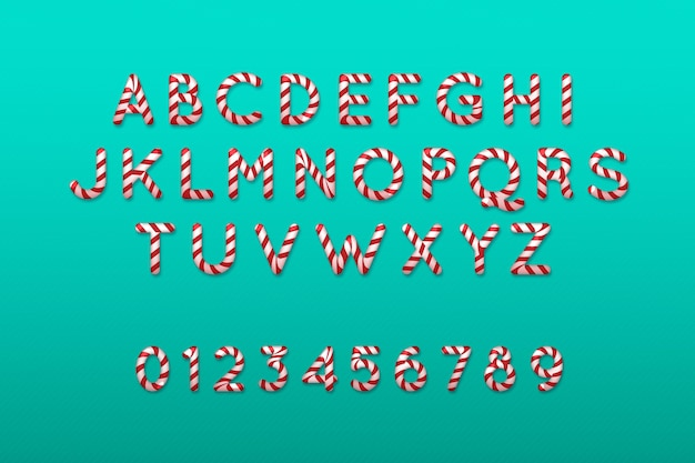 Alfabeto de natal com bastão de doces