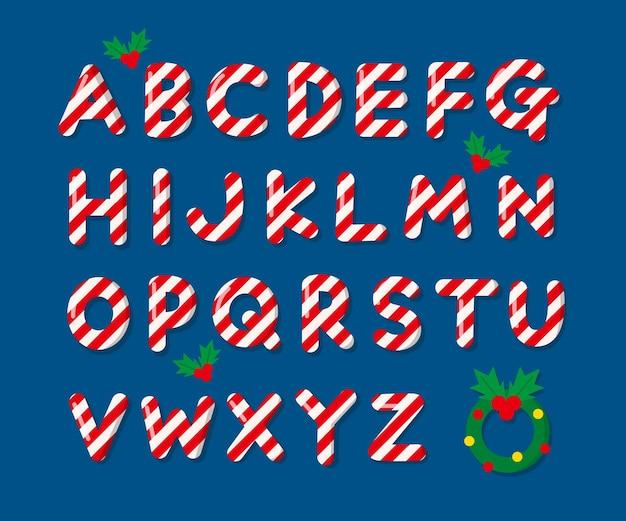 Alfabeto de natal com bastão