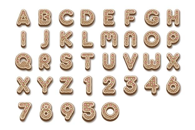 Alfabeto de natal de gengibre de a a z