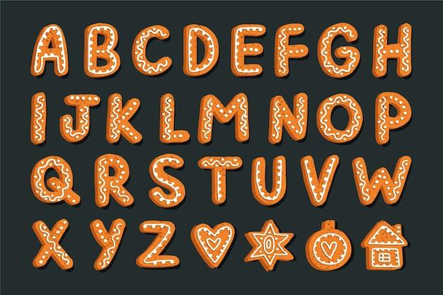 Alfabeto de natal de gengibre