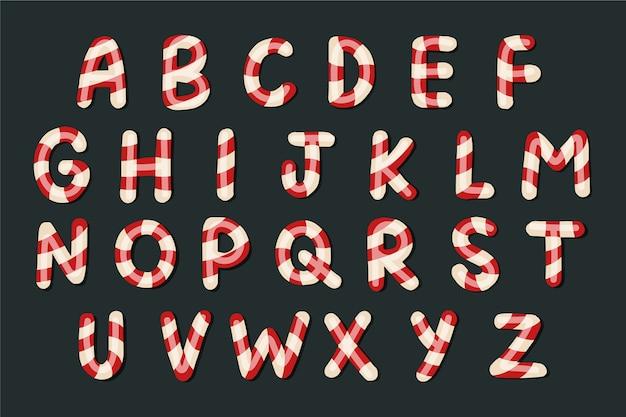 Alfabeto de natal de pirulito