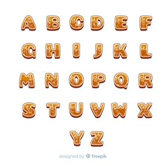 Alfabeto de natal delicioso letras de gengibre