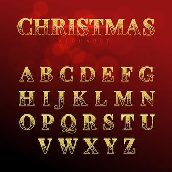 Alfabeto de natal dourado brilhante
