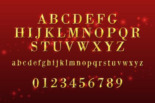 Alfabeto de natal dourado cintilante