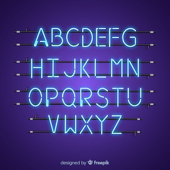 Alfabeto de néon azul