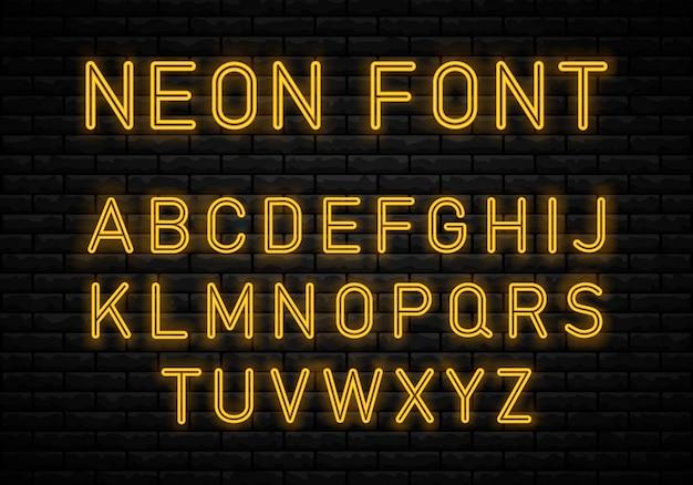 Alfabeto de néon claro