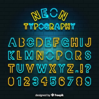 Alfabeto de néon colorido