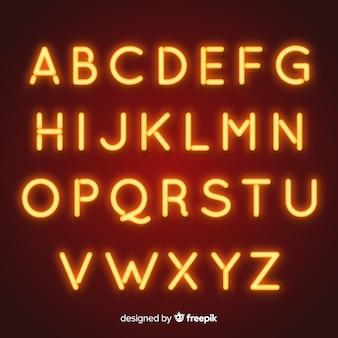 Alfabeto de néon em estilo retro
